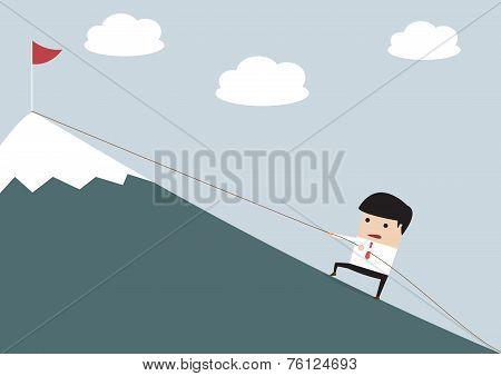 Businessman Climbing Hill