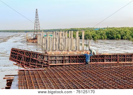 Workers Working At Coastal Road Construction, Thailand