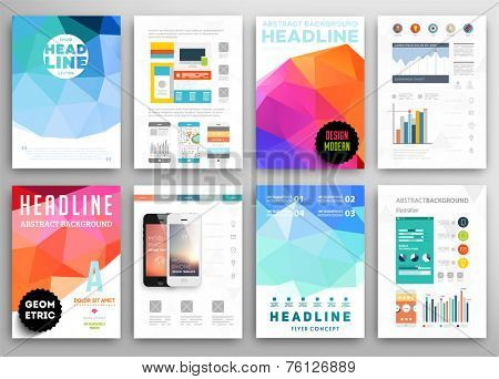 Set of Flyer, Brochure Design Templates. Geometric Triangular Abstract Modern Backgrounds. Mobile Technologies, Applications and Online Services Infographic Concept