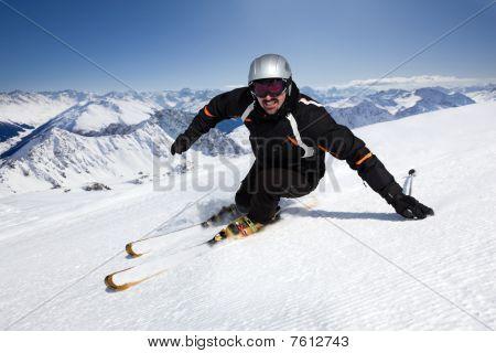 skiing on top