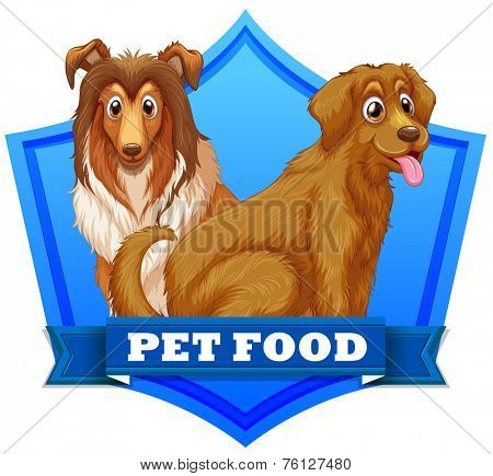 Pet food dogs on label or sticker