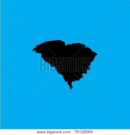 Coloured Background With The Shape Of The United States State Of South Carolina
