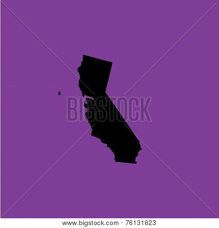 Coloured Background With The Shape Of The United States State Of California