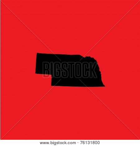 Coloured Background With The Shape Of The United States State Of Nebraska