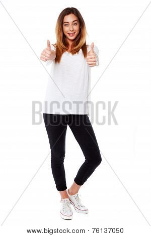 Happy Young Woman Giving A Double Thumbs Up