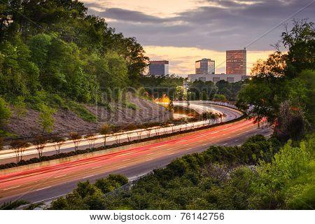 Greenville, South Carolina cityscape over Interstate 385.