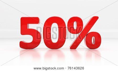 Fifty percent off. Discount 50.  Percentage. 3D illustration