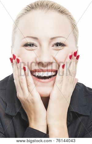 Portrait Of Beautiful Caucasian Woman Smiling With Open Mouth With Palms Touching Cheeks. Isolated O