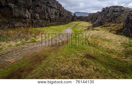 A Path In Pingvellir National Park, Iceland