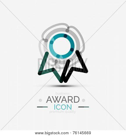 Award icon, logo. Modern business symbol, minimal outline design poster