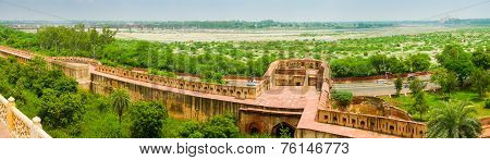 Panoramic view of Agra fort river and Taj mahal in the distance. Agra Uttar Pradesh India poster