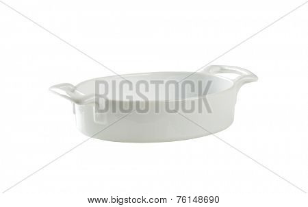 cutout of empty casserole dish on white background