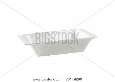 cutout of empty white bowl on white background
