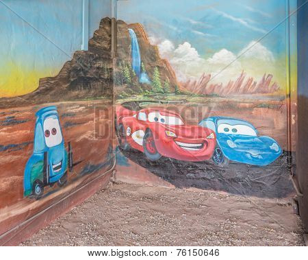 Route 66: Lightning McQueen and Sally Carrera Mural, Blue Swallow Motel, Tucumcari, NM
