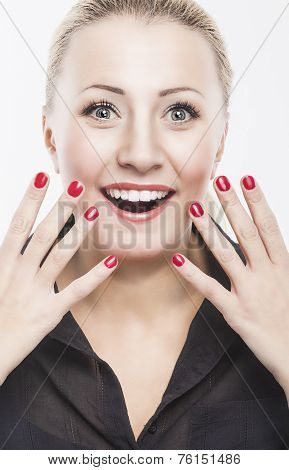 Portrait Of Surprised Excited Caucasian Woman Against Pure White Background. Model With Fascinated A