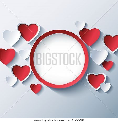 Love Background,valentines Day Frame With 3D Hearts