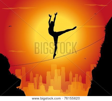 silhouette of dancer tightrope walker