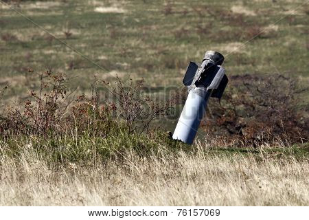 Dud Multiple Rocket Launchers Hurricane Sticking In The Steppe