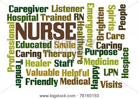 Nurse word cloud on white background