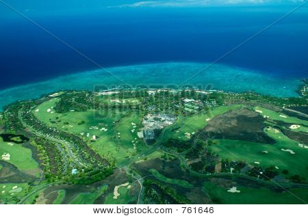 Big Island aerial shot - coastal golf course