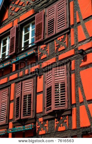 Orange Red Timber Frame House In Alsace