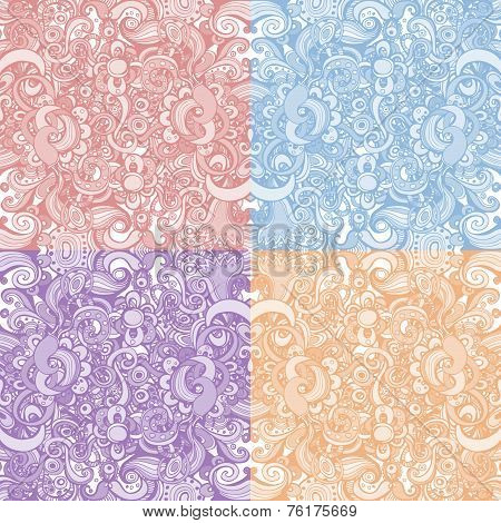 Set of four floral backgrounds