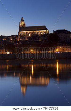 Church Of Blois At Night, Loire Et Cher, Centre, France