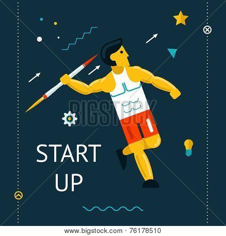 Retro Flat Design Space Launch Start Up Rocket Javelin Thrower Businessman Concept New Business Proj