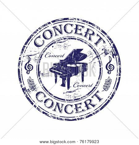Abstract grunge rubber stamp with piano shape and the word concert written inside the stamp poster