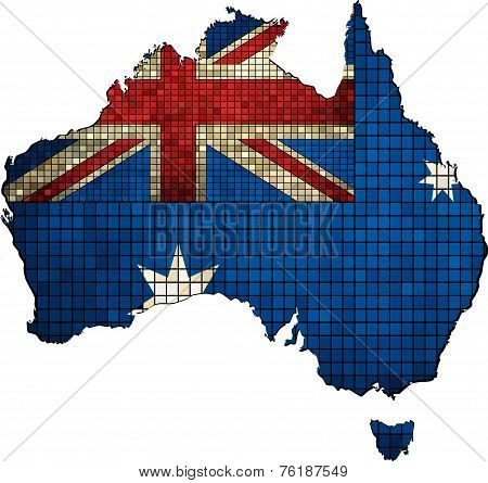 Australia map with flag inside