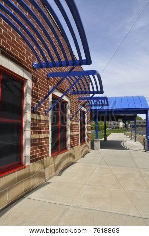 Sidewalk By A Modern School