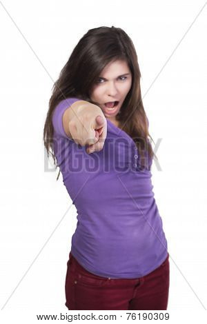 Brunette angry woman shout and point a finger on you isolated on white