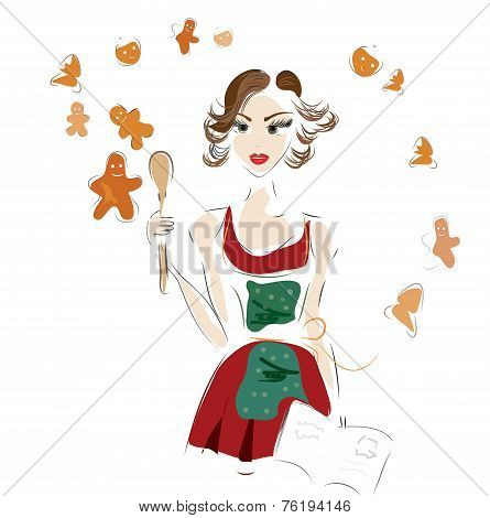 Woman making ginger cookies