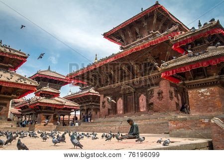 KATHMANDU, NEPAL - MARCH 27, 2013: The famous Durbar square on March, 27, 2013 in Kathmandu, Nepal.