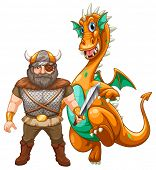 Viking and dragon on white poster