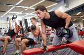 sport, fitness, lifestyle and people concept - group of men flexing muscles with dumbbells in gym poster