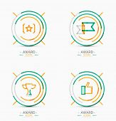 Set of Award icons, Logos. Modern business symbol, minimal outline design poster
