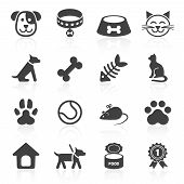 Trendy pet icons isolated on white. Vector elements poster
