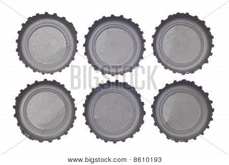 Six Bottlecap's Viewed From Above