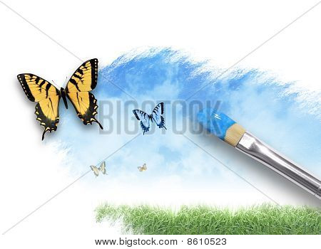 Nature Artist Painting Cloud Sky with Butterfly