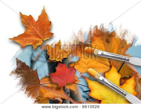 Painting Fall Season Leaves on White