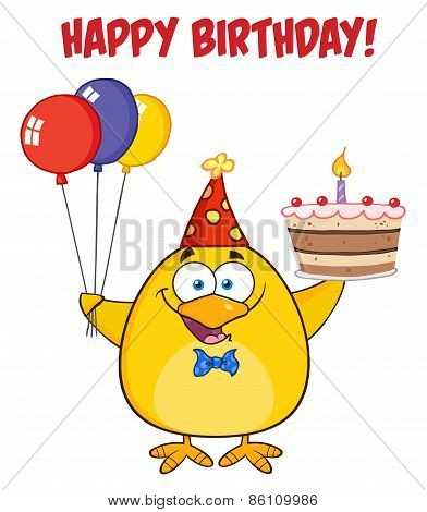 Happy Birthday With Chick Holding Up A Colorful Balloons And Birthday Cake.  Illustration Isolated On White With Text poster
