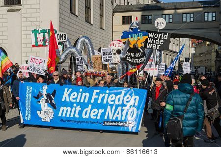 European Anti-nato Peaceful Protest Demonstration