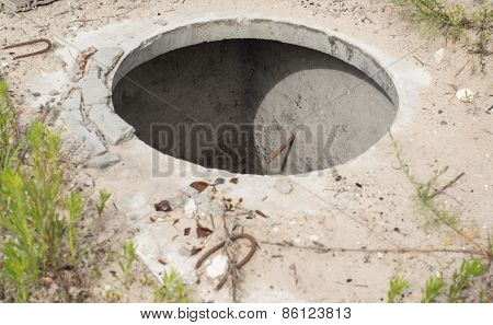 Manhole Without Cover In The Concrete Block
