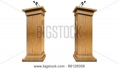 Two opposing regular wooden debate podiums signifying a debate on an isolated white studio background poster