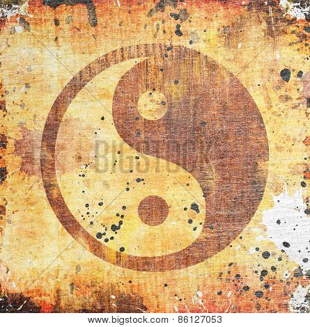 Yin yang symbol on grunge background with stains poster