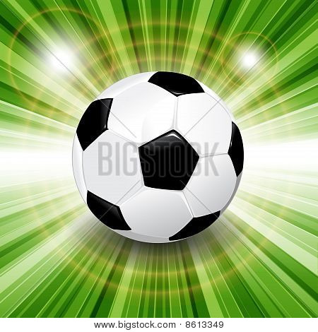 Illustration, leather soccer ball on green herb poster