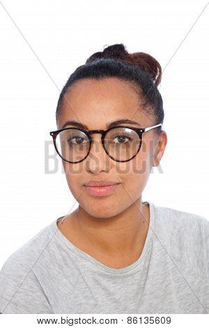 Close Up Asian Indian Girl Wearing Eyeglasses