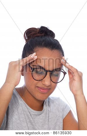 Young Woman With Headache Holding Her Head