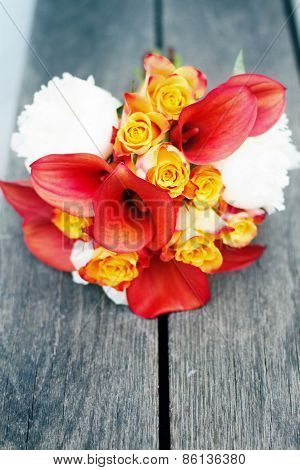 Red And White Wedding Bouquet